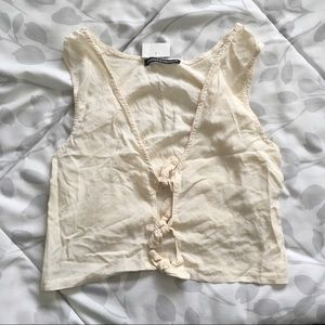 NWT Brandy Melville cream knot front tank